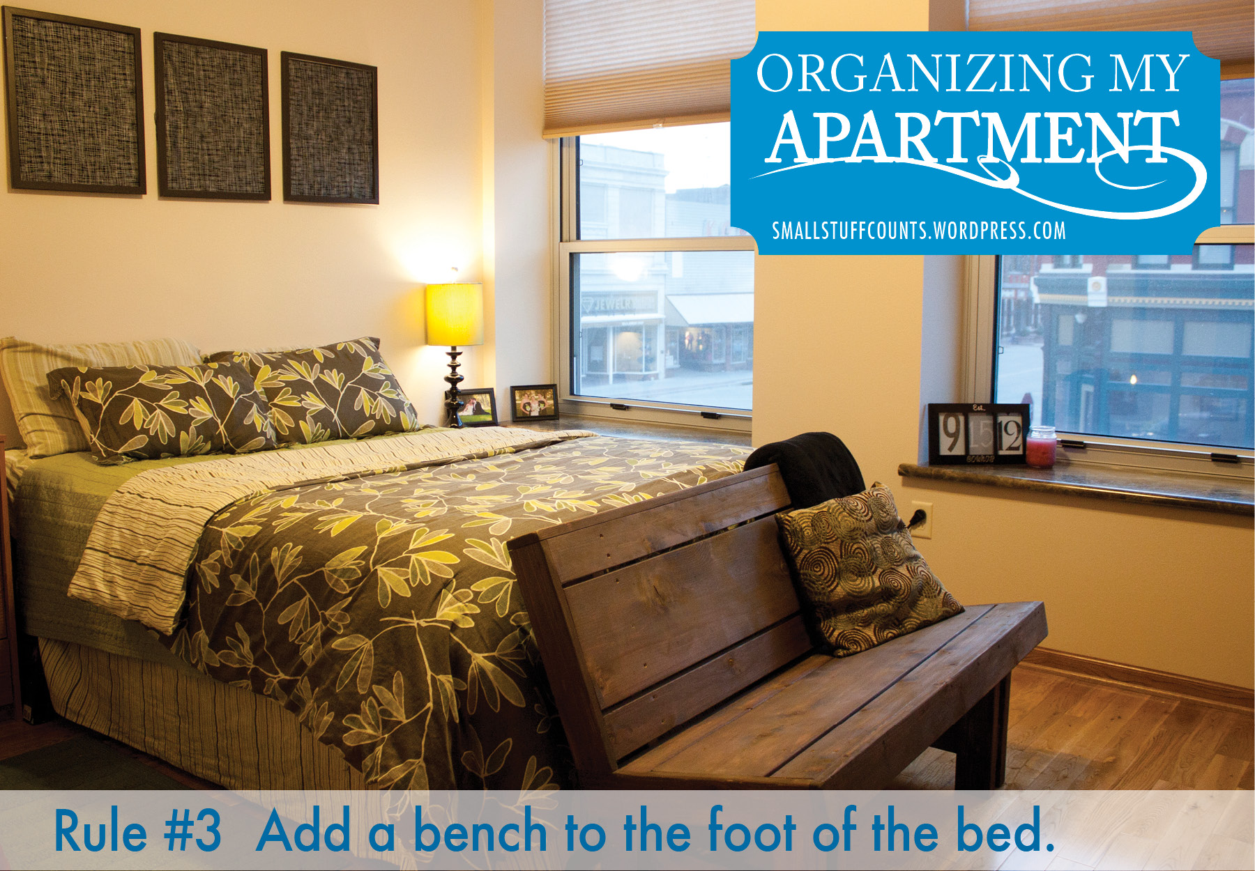 Organizing an apartment bedroom via The Small Stuff Counts Blog